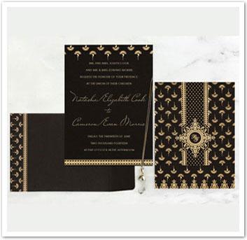 BLACK MATTE SCREEN PRINTED WEDDING INVITATION : AIN-8247B