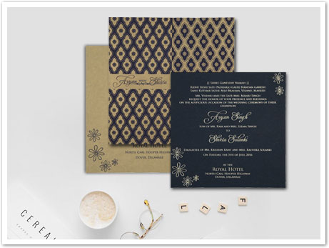 BLACK MATTE SCREEN PRINTED WEDDING INVITATION : AIN-8263F
