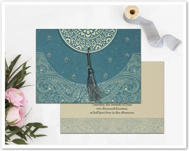 BLUE HANDMADE COTTON EMBOSSED WEDDING CARD : AI-8234E