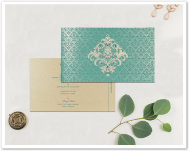 TURQUOISE BLUE SHIMMERY DAMASK THEMED - SCREEN PRINTED WEDDING CARD : AIN-8257E