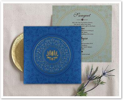 BLUE SHIMMERY LASER CUT WEDDING INVITATION : AD-1779