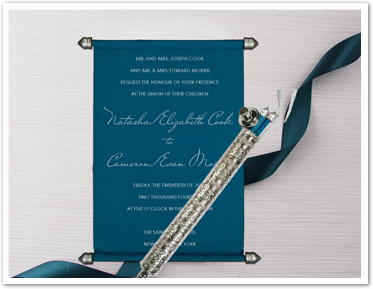 DEEP CYAN VELVET WEDDING CARD : ASC-5006I