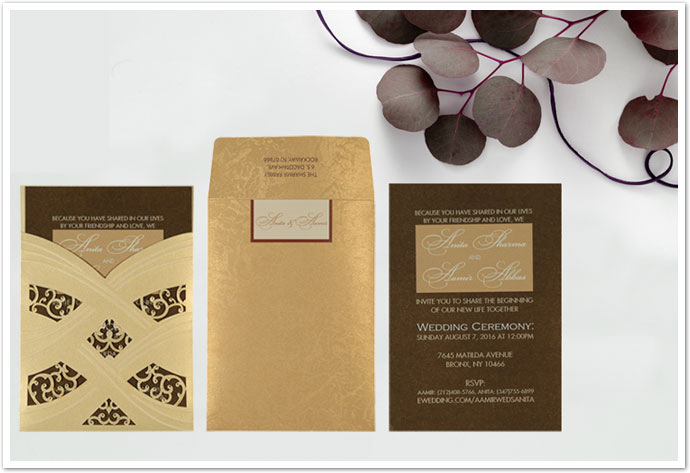 IVORY SHIMMERY LASER CUT WEDDING CARD : AIN-1591