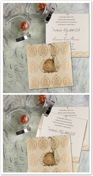 IVORY SHIMMERY UNIQUE THEMED - FOIL STAMPED WEDDING CARD : AW-8249B