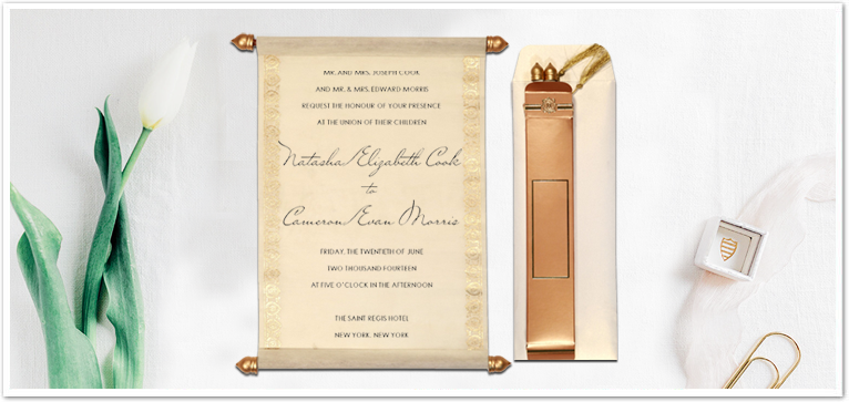IVORY WOOLY FOIL STAMPED WEDDING INVITATION : ASC-5012E