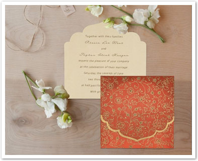 ORANGE WOOLY FLORAL THEMED - SCREEN PRINTED WEDDING INVITATION : AD-8211F