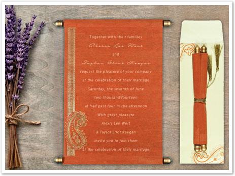 ORANGE WOOLY FOIL STAMPED WEDDING CARD : ASC-5015K