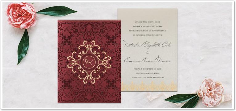 BURGUNDY SHIMMERY SCREEN PRINTED WEDDING CARD : AD-8244H
