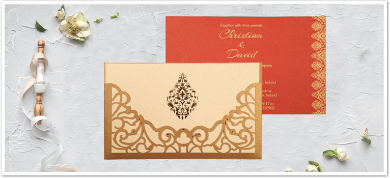 GOLD SHIMMERY DAMASK THEMED - LASER CUT WEDDING CARD : AIN-8262D
