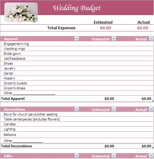 Wedding budget wedding budget list a2zweddingcards wedding budget planning junglespirit Gallery