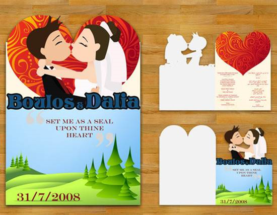 cartoon design wedding invitation