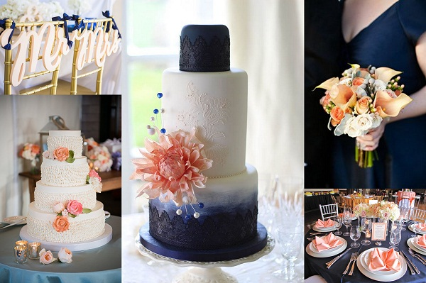 Navy Blue And Peach Wedding Cake Nad Table Decor