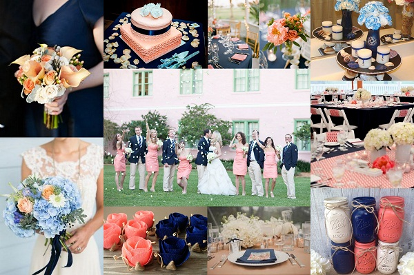 Navy Blue and Peach Wedding Theme - A2zWeddingCards