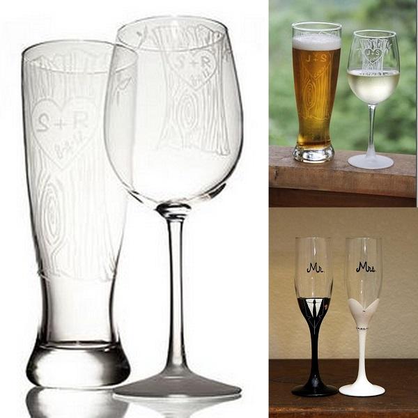 Personalized Tree Trunk Glassware Duo - Wedding Gifts - A2zWeddingCards