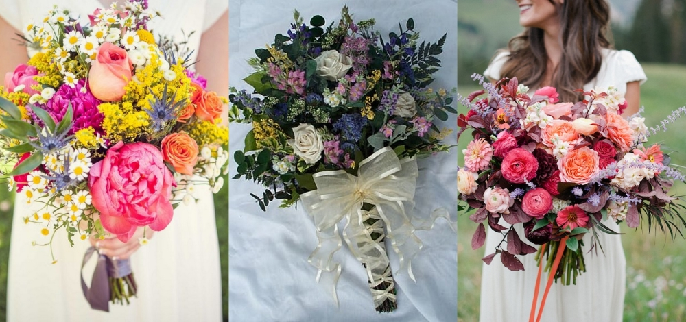 Roses with wildflower Bridal Bouquet