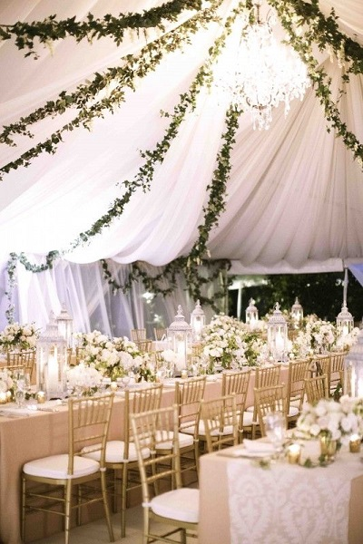 Glamorous white drape tent idea for wedding - A2z Wedding Cards