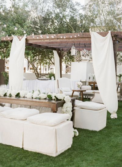 guests place decorated with white tents & white sofas - A2zWeddingCards