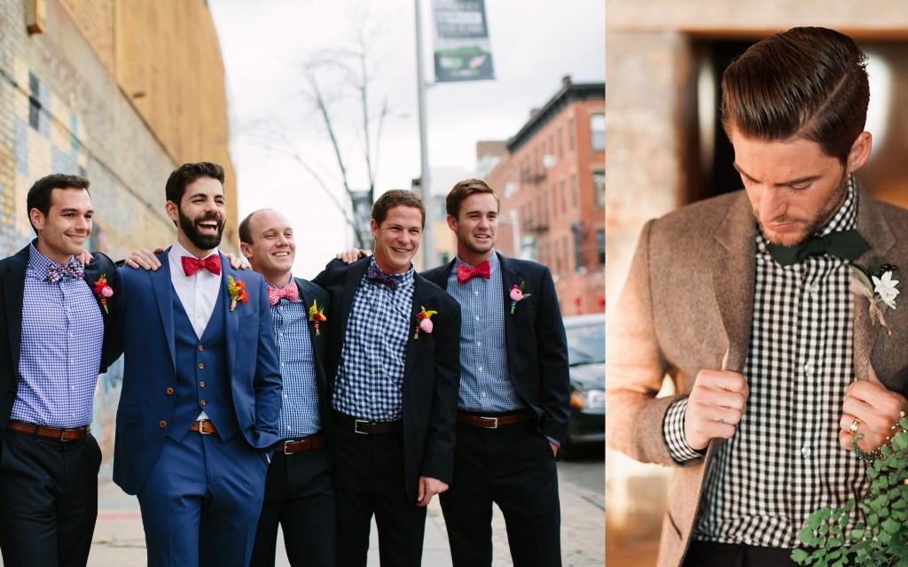 Groom's and groomsmen's attire for Gingham Wedding- A2zWeddingCards