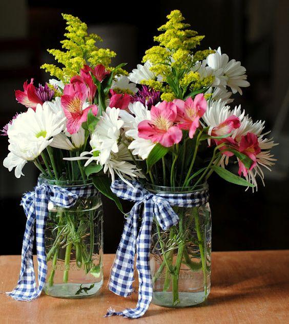 Mason jars tied with gingham style Ribbon - A2zWeddingCards