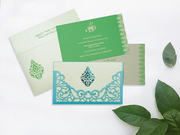 Spell bounding turquoise damask glamour- AD-8262A- A2zWeddingCards