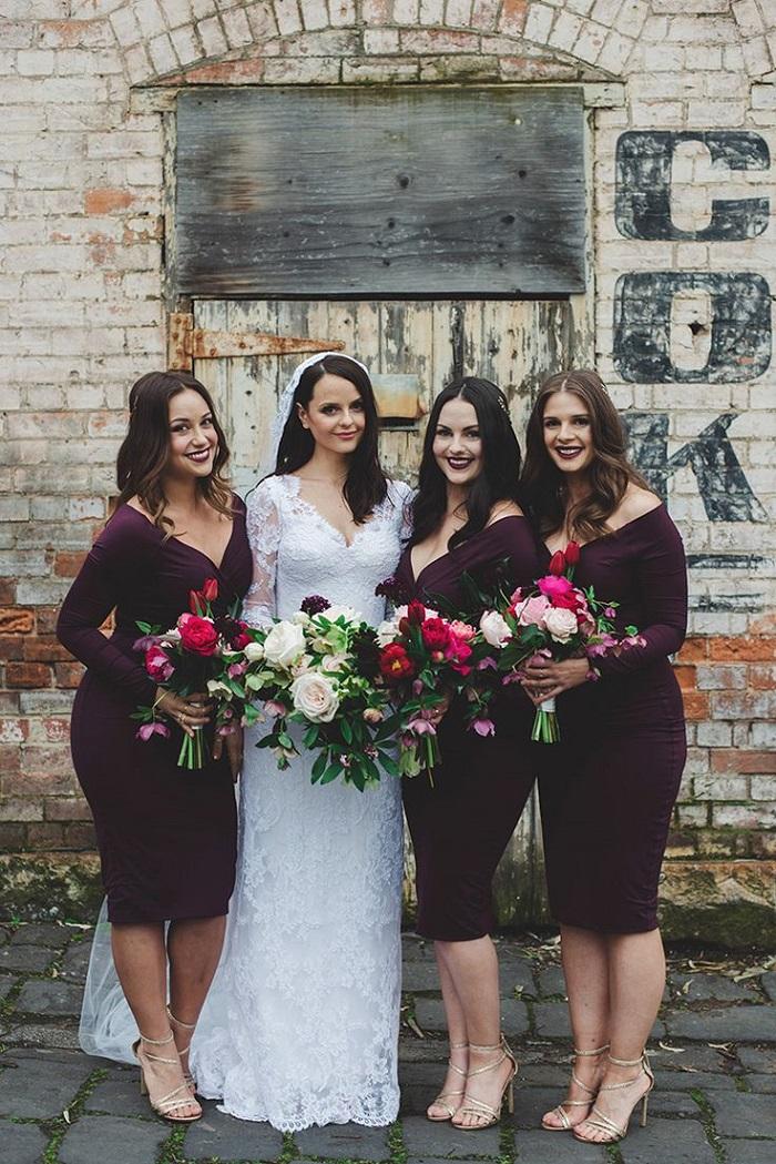 long sleeves bridesmaid dress