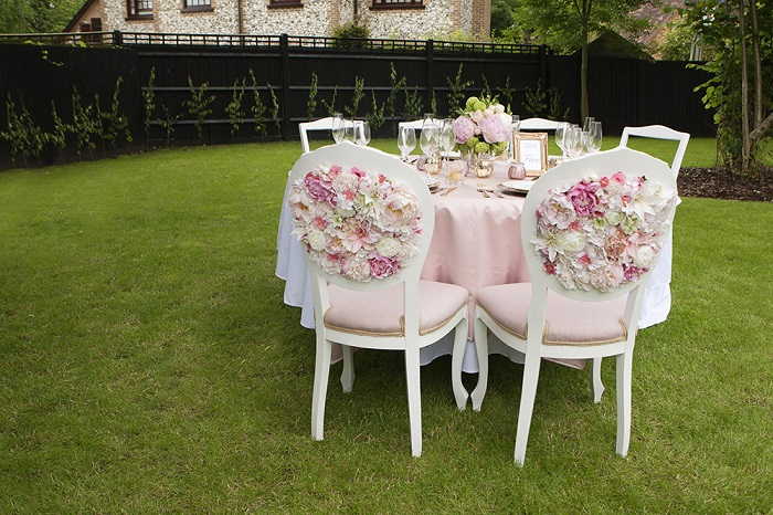 pastel pink shaded upholstered chairs