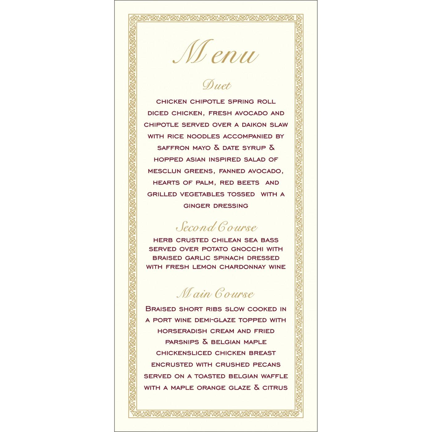 Menu Cards - MENU-8211K