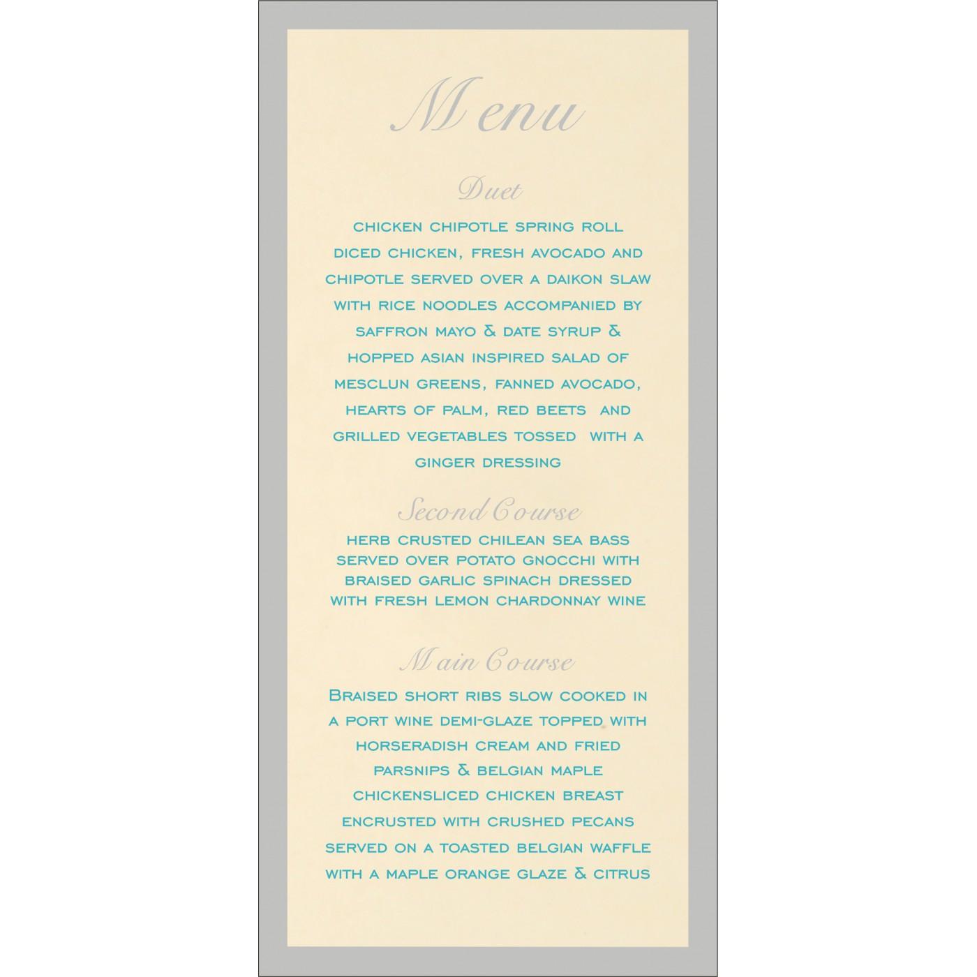Menu Cards - MENU-8229M